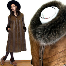 VTG ARCTIC Fox Fur GOAT Suede Leather Maxi Trench Coat SNAKE Skin Military 70s M