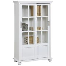 """Tall 51""""White 4 Shelf Barrister Bookcase Display Cabinet Sliding Glass Door Wood"""