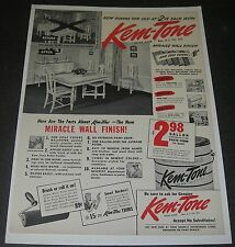 Print Ad 1942 Kem-Tone Miracle Wall Finish PAINT DiningRoom Furniture Home Decor