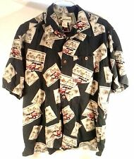 CAFE HAVANA MEN'S TROPICAL BEACH HAWAIIAN CASUAL SHIRT MEDIUM FREE SHIPPING!