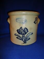 Burger & Lang Rochester New York Stoneware 3g Crock with Fancy Tulip Decoration