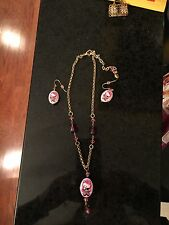 Tarina Tarantino Pink Head Crystal Hello Kitty Necklace & Earring Set