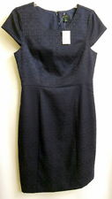 J. Crew Damask Little Black Dress Sz:10  Sheath Cocktail Evening Cap Sleeves NWT