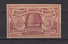 Ancienne   étiquette allumettes Suède    Ruche  Abeilles