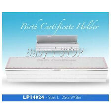 Silver Plated Birth Certificate Box / Holder PINK in Gift Box