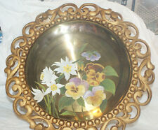 Antique Brass Hand Painted PLATE FLORAL RARE CAST IRON ORNATE PLATE VICTORIAN