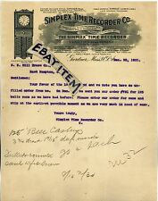 1905 Letterhead SIMPLEX TIME RECORDER COMPANY Clock GARDNER MASSACHUSETTS letter