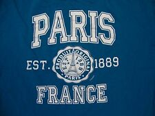 Paris France Est. 1889 Eiffel Tower Vacation Souvenir Tourist Blue T Shirt M