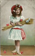 Tuck's Oilette Postcard Produced in Saxony Flower Maidens #6966 Girl Blue Dress