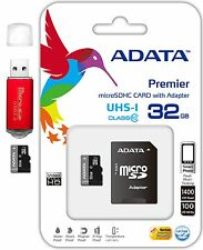 ADATA 32GB Micro SD HC Micro SDXC Class 10 TF Flash Memory Card w USB Reader Red