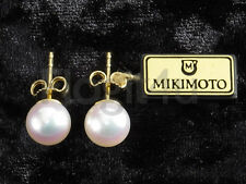 Mikimoto 18k Yellow Gold Hallmarked 8mm White Akoya AAA Pearl Stud Earrings NEW
