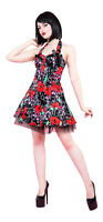 Alternative Punk Goth Red Rose Pink Skull Netted Party Prom Mini Dress New 8-16