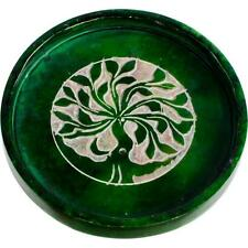 Green Soapstone Tree of Life Incense Plate/Coaster/Candle Holder! pagan witch