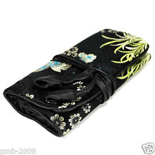 SILK JEWELRY TRAVEL BAG Roll Case Pouch Carrying Black Brocade Fabric Zipper NEW