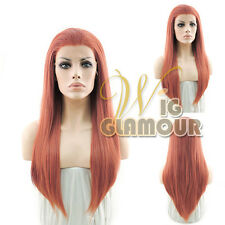 "Long Straight 24"" Pinkish Orange Lace Front Wig Heat Resistant"