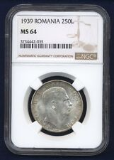 ROMANIA CAROL II 1939 250 LEI SILVER COIN CHOICE UNCIRCULATED CERTIFIED NGC MS64