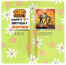 20 Personalizzata Star Wars Rebels Cup Cake Bandiera Partito PICK TOPPER COMPLEANNO