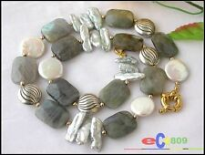 """p1296 17"""" NATURE OBLONG FLUORITE BIWA COIN PEARL NECKLACE"""