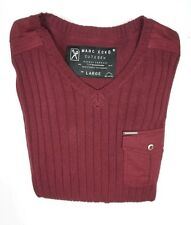NEW MARC ECKO CUT & SEW TAWNY PORT RED CADET KNIT RIBBED V-NECK SWEATER SIZE L