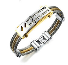 Gold Stainless Steel Twisted Cable Wire Cuff Bangle Women Men Crystals Bracelet