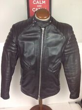 Vintage 70's Brimaco Classic Cafe Leather Biker Jacket Padded Motorcycle Black