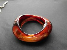 New Ophira Resin-Amber, brown, marble, cream bangle bracelet with tag