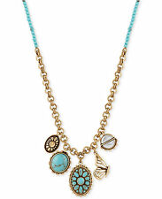 NWT Lucky Brand Two-Tone Blue Stone and Butterfly Charm Pendant Necklace