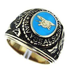 Mens US Navy Seals Military Gold EP Plated Ring size 13