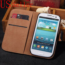 Genuine Luxury Real Leather Flip Wallet Case Stand Cover For Samsung Galaxy S3