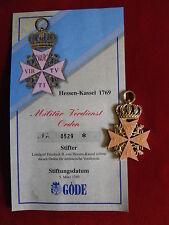 GÖDE Orden Hessen-Kassel 1769 - Militär-Verdienst-Orden + Zertifikat Nr.0529