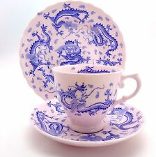Vintage Tuscan China Trio Pink with Blue Dragon c'1936 Cup Saucer and Teaplate