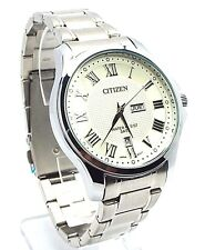 New Citizen Man  Silver-tone, White-dial, Day-date-window Dress Watch