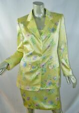ESCADA Margaretha Ley Soft Yellow Floral Silk Dress & Jacket Set Spring 38 8