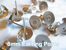 Surgical Stainless Steel 8mm Flat-Pad Earring Posts and Backs findings 24pcs