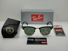 RAY-BAN CLUBMASTER POLARIZED SUNGLASSES RB3016 901/58 BLACK/GREEN LENS 49MM  NEW