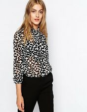 New Womens Mango Collection Hearts Blouse Shirt Black White size 8 10 tie neck