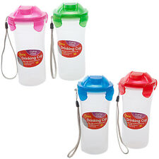 DRINKING CUP BOTTLE CLIP LOCK LEAK PROOF DRINK SPORTS FITNESS SHAKER KIDS LUNCH