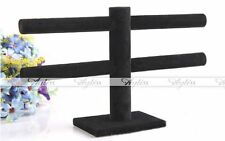 2 Tier Jewelry Hard Display Stand Holder Bracelet Chain Bangle Watch T-bar Black