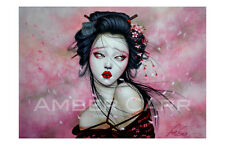 "Amber Carr Art Print 11"" x 17"" ""Cherry Blossom Girl"" Geisha Shibari Pin Up Japan"