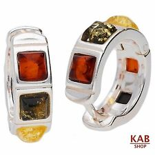 BALTIC AMBER STERLING SILVER 925 JEWELLERY HOOP EARRINGS. KAB-31