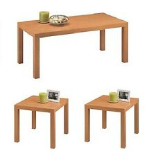 Parsons 3-Piece Coffee & End Tables Wood Furniture Value Bundle Combo Natural