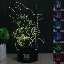 Dragon Ball Z Saiyan Son Goku 3D LED Night Light 7 Colors Change Desk Table Lamp
