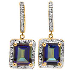 Lovely Earrings W/Genuine Diamond & Mystic Platinum over Y 925 Sterling Silver