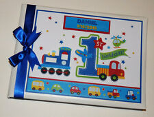 PERSONALISED ALL ABOARD BOY FIRST/1ST BIRTHDAY GUEST BOOK ANY DESIGN