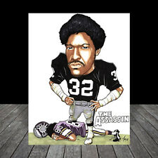 New JACK TATUM in #32 Oakland Raiders football jersey POSTER ART, artist signed
