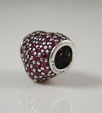 Authentic Genuine Pandora Silver Red Pave set Heart Charm Bead 791052CZR