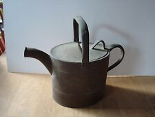 """VINTAGE BRASS J.S.&S. HINGED LID WATERING CAN 3.5 PINT  11"""" ACROSS AND 9 """" HIGH"""