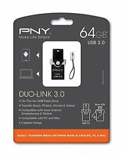 PNY 64GB DUO-LINK On-The-Go USB 3.0 Flash Drive for Android Devices, New