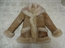 GREAT COND VINTAGE 70'S OVERLAND SHEEPSKIN CO SHEARLING JACKET HORN BUTTONS 6