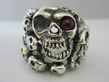 Stunning Huge Tourmaline & Sterling Silver Gothic Men's Skull Ring - Size X